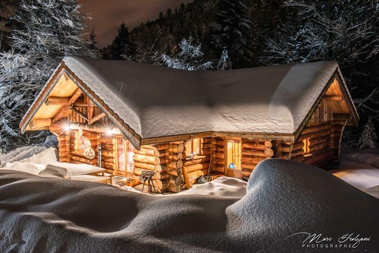 Hütte Hohneck in kanadischer Holzbauweise; Foto: Marc Fulgoni