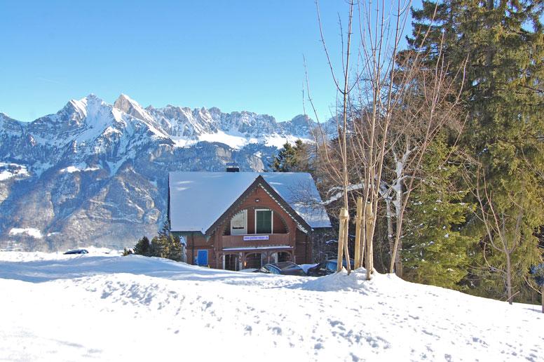 Hütte Flumserberg - traumhafter Wintertag mit toller Aussicht in Richtung Churfirsten und Gamsberg
