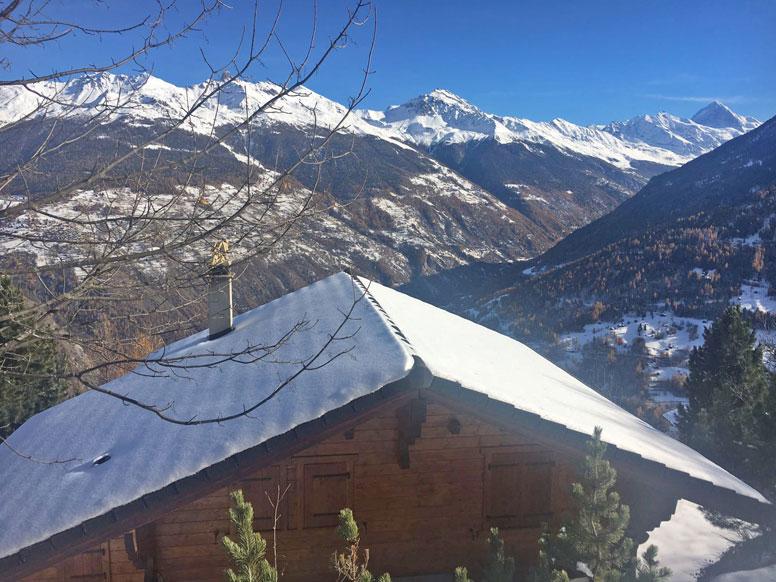 Ferienhaus Les Collons - beim ersten Schnee im Herbst