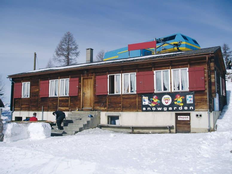 Skihütte Visperterminen im Winter