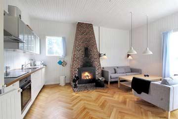 Sitzplatz, Kamin und Küche im Gemeinschaftshaus