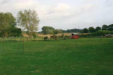 Gelände hinter dem Haus mit dem Stall für Hasen, Ziegen und Pferde