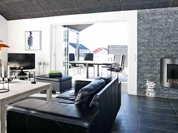 Terrassenzugang und Kamin