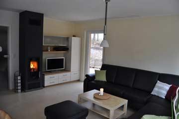 großer Wohnraum im EG mit Kamin und TV