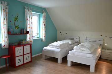 Blick in ein Schlafzimmer OG