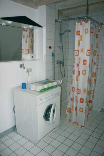 Behindertengerechtes Badezimmer mit Dusche, WC und Waschmaschine