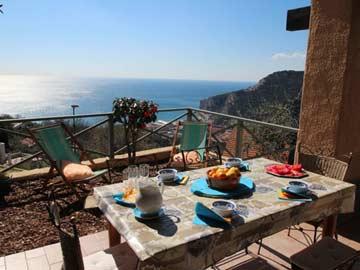 Ferienhaus Finale Ligure an der Riviera di Ponente mit Aussicht vom Haus aufs Meer