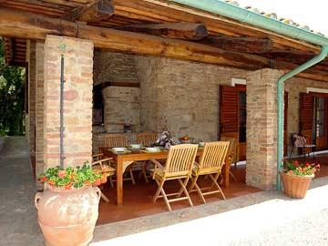 gemauerter Außenkamin auf der Terrasse