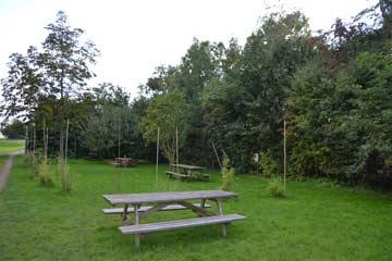 Garten am Haus mit Picknicktischen