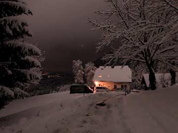 Skihütte Nassfeld am Abend