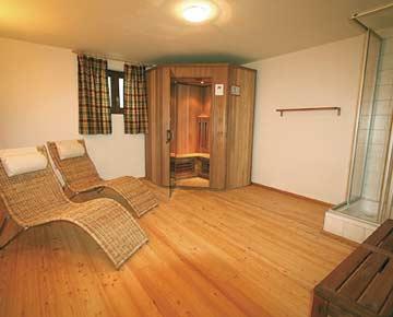 der Wellness-Bereich im Ferienhaus Pass Thurn mit Sauna