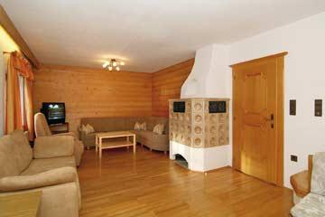 das Wohnzimmer im Ferienhaus Zugspitze