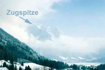 Blick zur Zugspitze im Winter