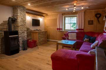 Gemütlicher Wohnbereich mit großer Couch und Kamin