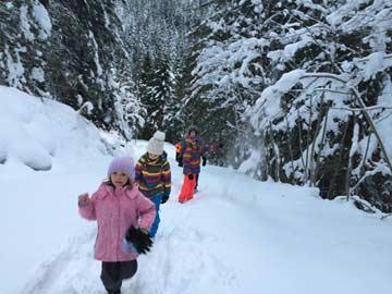 der Weg vom Parkplatz zur Hütte - ein Wintertraum