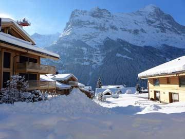 Aussicht im Winter auf die berühmte Eiger Nordwand
