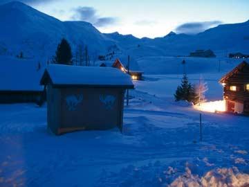 Skihütte Savognin - Abendstimmung direkt bei der Hütte (Kundenfoto)
