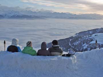 Herrliche Aussicht über den Nebel im Rhonetal